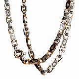 Золотая цепь Квинт с черной эмалью в стиле Картье