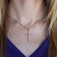 Золотой крест Строгое изящество в красном золоте с бриллиантами