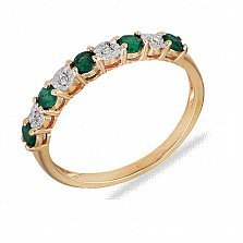 Кольцо из красного золота Николь с дорожкой из изумрудов и бриллиантов