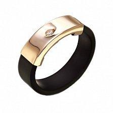 Золотое кольцо с каучуком и фианитом Бостон