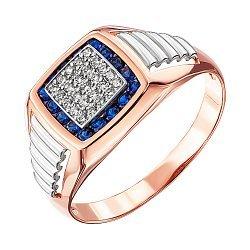 Золотой перстень-печатка в комбинированном цвете с синими и белыми фианитами 000137765