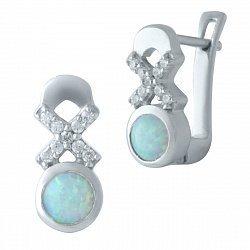 Серебряные серьги с голубыми опалами, фианитами и родированием 000128140