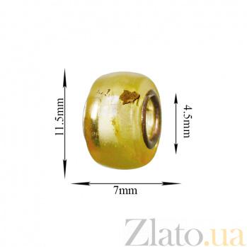 Шарм из полупрозрачного лимонного янтаря Мед на металлической основе 000071088