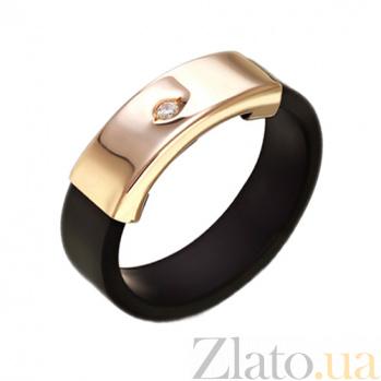 Золотое кольцо с каучуком и фианитом Бостон TNG--900620