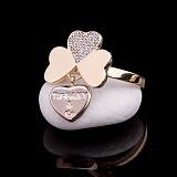 Золотое кольцо Айвина с фианитами и подвеской в стиле Тиффани
