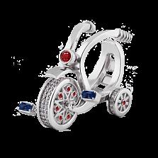 Эксклюзивное кольцо Велосипед с сапфирами, рубинами и бриллиантами