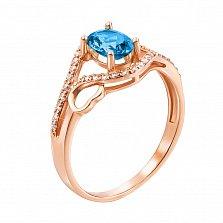 Золотое кольцо Лиана в красном цвете с топазом лондон и фианитами
