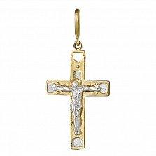 Крестик из серебра Вечная жизнь с позолотой