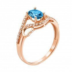 Кольцо из красного золота с топазом лондон и фианитами 000124510