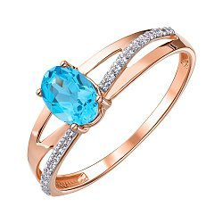 Кольцо из красного золота с топазом и фианитами 000147551