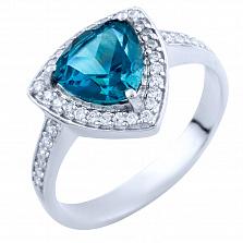 Серебряное кольцо Фелициана с синтезированным топазом лондон и фианитами