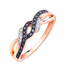 Кольцо из красного золота с черными и белыми бриллиантами и родированием 000132238