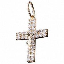 Крест из желтого золота Спасение с цирконием