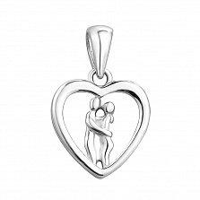 Родированная подвеска-сердце Поцелуй влюбленных из серебра