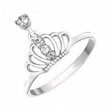 Серебряное кольцо Корона с фианитами и подвеской с завальцованным камнем