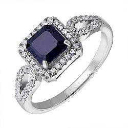 Серебряное кольцо с сапфиром и фианитами 000125026