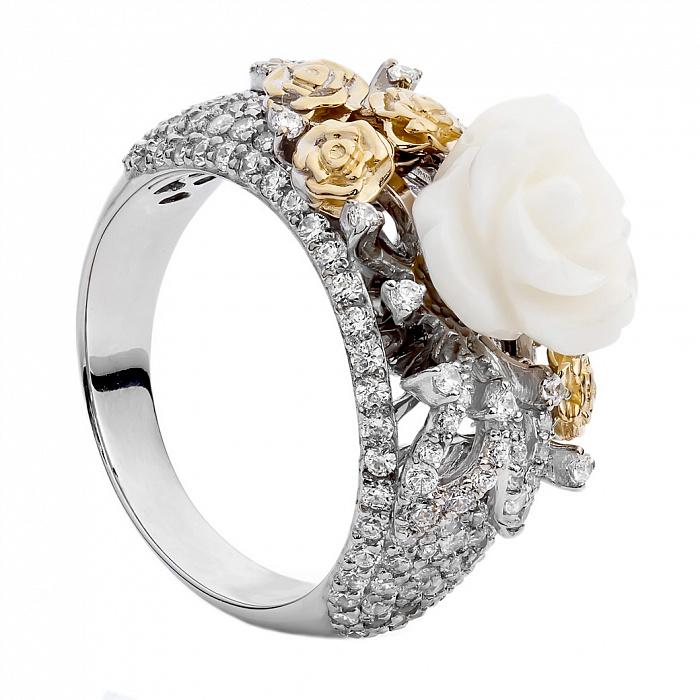 Золотое кольцо с кораллом и цирконием Кейси 000030031