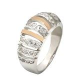 Серебряное кольцо с цирконием и золотой вставкой Наслаждение