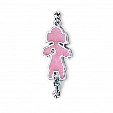 Фигурное звено в белом золоте Малышка для браслета-конструктора Baby с розовым полимером и фианитом