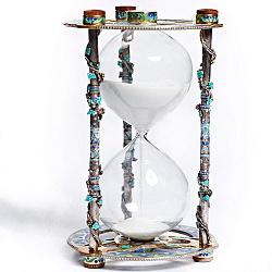 Серебряные песочные часы с цветной эмалью и позолотой 000004517