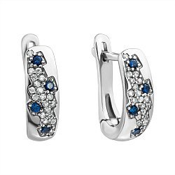 Серебряные серьги с белыми и синими фианитами 000096375
