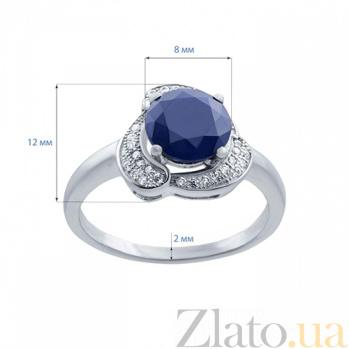 Серебряное кольцо с сапфиром и фианитами Цветение AQA-R01073S