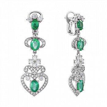 Сережки-підвіски з білого золота зі смарагдами та діамантами 000136728