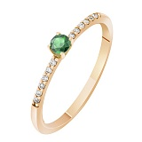 Кольцо в красном золоте Прима с изумрудом и бриллиантами