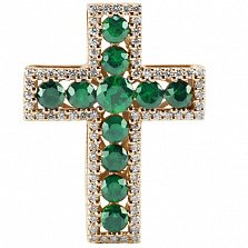 Крест из красного золота Сияние с изумрудами и бриллиантами