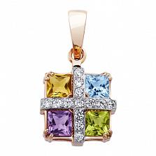 Золотая подвеска с полудрагоценными камнями Аврора