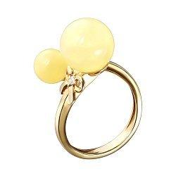 Позолоченное серебряное кольцо с лимонным янтарем и фианитом 000118964
