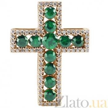 Золотой крест с изумрудами и бриллиантами Сияние KBL--П219/крас/изум