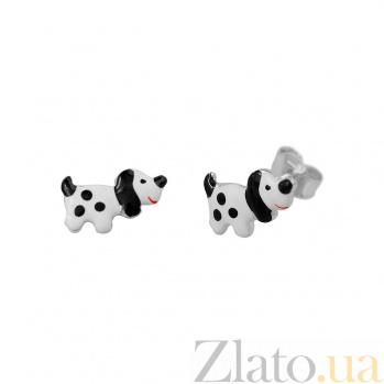 Серебряные серьги-пуссеты Далматинцы с черной и белой эмалью 000081925
