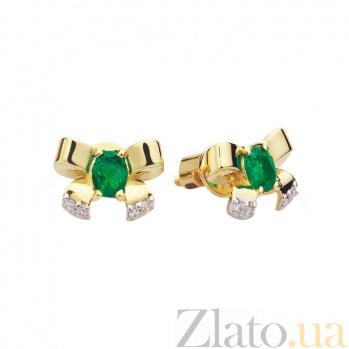 Золотые пуссеты с изумрудами и бриллиантами Бантики 000030403