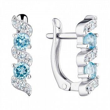 Серебряные серьги с голубыми топазами и фианитами 000125296