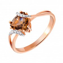 Кольцо в комбинированном цвете золота с раухтопазом, фианитами и родированием 000131336