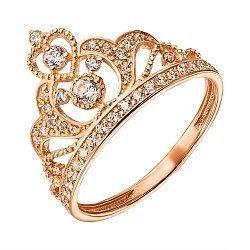 Кольцо-корона из красного золота с фианитами 000135313