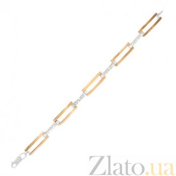Серебряный браслет с золотыми вставками и фианитами Элегантность BGS--99/8Б