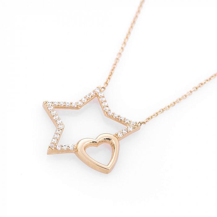 Колье из желтого золота Звезда любви с фианитами 000082435