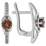 Серебряные серьги Валери с раухтопазами и фианитами