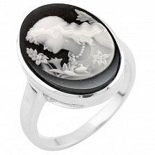Кольцо из серебра Элиза с ониксом и фианитами