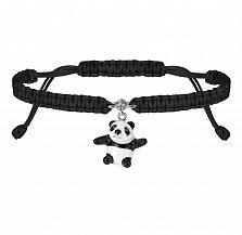 Детский плетеный браслет Мишка панда в черном цвете с эмалью и фианитом, 10-20см
