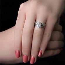 Серебряное кольцо Связь с фианитами