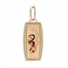 Ладанка в красном золоте Святой оберег с эмалью