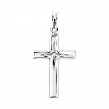Декоративний хрестик із білого золота з діамантом і алмазною гранню з родіюванням 000123716