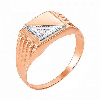 Золотой перстень-печатка в комбинированном цвете с цирконием 000106284