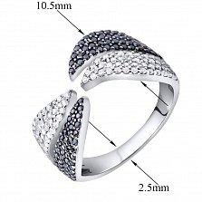 Серебряное кольцо Миранда с черными и белыми фианитами