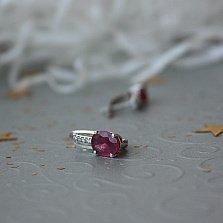 Серебряные серьги Рашель с рубинами и фианитами