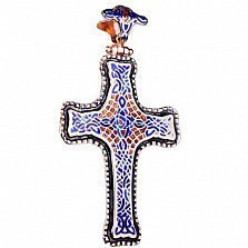 Крест из красного золота Вязь с эмалью