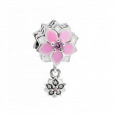 Серебряный шарм Анемона с подвеской, эмалью, розовыми и белыми фианитами в стиле Пандора